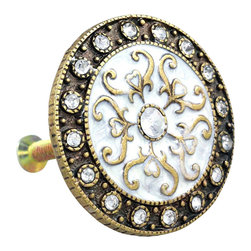 Charleston Knob Company - SET OF 2 Fancy Knobs - Jewel Cloisonne Silver - Puttin' on the Glitz is fun