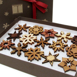 Mini Wooden Snowflake Ornament Gift Box by Timber Green Woods - This box of snowflakes makes me happy. I love how they add a natural element to the tree decor. I'd even hang them from my chandelier to add some Christmas cheer to the kitchen.
