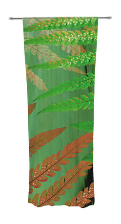 """Kess InHouse - Alison Coxon """"Forest Fern Russet"""" Green Brown Decorative Sheer Curtain - Let the light in with these sheer artistic curtains. Showcase your style with thousands of pieces of art to choose from. Spruce up your living room, bedroom, dining room, or even use as a room divider. These polyester sheer curtains are 30"""" x 84"""" and sold individually for mixing & matching of styles. Brighten your indoor decor with these transparent accent curtains."""