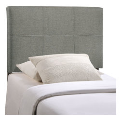 LexMod - Oliver Twin Fabric Headboard in Gray - The generously padded fabric Oliver headboard conveys a sense of positive resolve, while imparting a taste for flamboyance that never fades. Outfitted with raised trim and an effervescent sheen, Oliver embellishes your decor without detracting from the finer elements of style.
