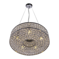 Joshua Marshal - 5 Light Round Crystal Pendant Light in Chrome Finish with Clear Crystal - Brighten up your living space with the polished, contemporary look of this fascinating chrome finish pendant light.