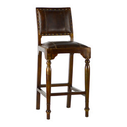 Dovetail Furniture - Federico Bar Stool - Hand made in solid hardwood frame with dark brown sealed finish.  Leather with stitch detailing and accented with antiqued brass nailheads.