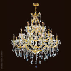Worldwide Lighting Maria Theresa Chandelier W83003G38 - Worldwide Lighting Maria Theresa Collection 28 light Gold Finish and Clear Crystal Chandelier Three 3 Tier