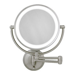 Zadro - Round LED Lighted Wall Mirror - Zadro's Round LED Lighted Wall Mirror features dual-sided, optical quality glass to ensure a clearer reflection of your true self. On one side, the 10X magnification is great for touch-ups, detail, and make-up application. On the other side, the 1X magnification is perfect for all-around hairstyling, cosmetics, and every beauty need in between.