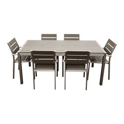 MangoHome - Outdoor Patio Furniture Aluminum Resin 7-Piece Dining Table And Chairs Set - This amazing outdoor Dining Set comes with 7 different pieces. It is very functional and can be arranged many different ways to meet your needs! Look at our pictures to view all of the possibilities! Each wicker set is hand crafted by trained professionals with premium quality materials assuring your set will last many years!