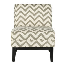 Safavieh - Armond Chair - Grey/White Zig Zag - Styled for maximum impact in minimal space, the transitional Armand chair by Safavieh marries form and function. The chic grey and white zigzag chevron motif is printed on a crisp blend of cotton and linen, and birch legs in dark brown finish add fashion flair. The Armand chair looks great in pairs in a conversation grouping, or use it alone in bedrooms or as a reading chair in the living room or family room.
