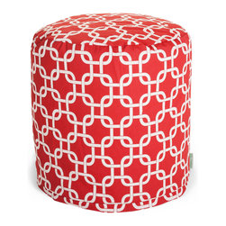 Majestic Home - Outdoor Red Links Small Pouf - A little pouf can go a long way in your home, serving in a pinch as a footrest, stool or impromptu side table. This cute and casual beanbag pouf is designed to be adaptable to your life; it's soft and easy to move around wherever it's needed, and the cover can be removed for cleaning up spills and smudges. It has a fresh, modern print to add some color to your space, and it's even safe for outdoor use.