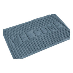 Bungalow Flooring - 24 in. L x 36 in. W Bluestone Waterguard Squares Welcome Mat - Made to order. Crisp squares design traps dirt, resists fading, rot and mildew. Indoor and outdoor use. 24 in. L x 36 in. W x 0.5 in. H