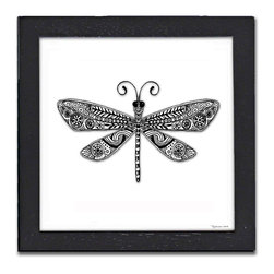 Dragonfly Pen & Ink - This elegant Dragonfly is a print of a pen and ink drawing by Pamela Corwin. The tiny intricate patterns in each of Pam's pen & inks create beautiful detailed graphic designs. Framed in a classic black frame and available in two sizes, this handsome print will fit in any room . They look great in sets of two or three.
