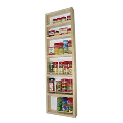 None - WG Wood Products Solid Wood Surface Mounted Kitchen Spice Rack with Posterboard - Organize your spices and other small bottles in the kitchen with this handy and innovative large kitchen spice rack. You can see all of your spices easily with this rack that is crafted with a natural finish and that can be hung on a wall or door.