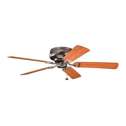 """BUILDER FANS - BUILDER FANS Stratmoor 52"""" Transitional Flush Mount Ceiling Fan X-BBO220933 - Warm tones and clean finishes give this Kichler Lighting ceiling fan a masculine, modern look. From the Stratmoor Collection, it blends an Oil Brushed Bronze finish with the warm tones of the reversible walnut/cherry fan blades."""