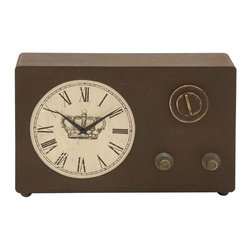 Benzara - Wood Clock with Roman Numerals and Vintage Look - Decorate your side table in the bedroom with this wood clock that will bring elegance to your room interiors. The beautiful decorative piece can be placed on the side table or on the mantle in the living room to add vintage attributes to the decor. Vintage in appearance, this wooden clock has an antique design and simple construction. The clock sports three switches and a round white dial prepped with Roman numerals. The hands of the dial are smeared in black, which augments the overall design. This clock features wooden cups at the bottom to support its placement. This wooden clock also acts as a perfect gift to anyone who loves collecting vintage collectibles. Neatly designed and crafted, the fine detailing of this wooden clock makes it a beautiful decorative accessory for your home and office.