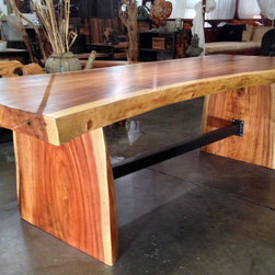 Large Natural / Live Edge Monkeypod Wood Dining Table - Large Natural / Live Edge Monkeypod Wood Dining Table with signature custom steel trestle connecting the slab legs.