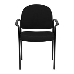 Flash Furniture - Flash Furniture Stackable Side Chair in Black with Arms - Flash Furniture - Stacking Chairs - BT5161BKGG - Complete your office or reception area with this stacking side chair by Flash Furniture. The comfortably padded seat and back are provided to make your guests feel at ease while waiting. The steel frame of this chair is strong enough to last for years of use. [BT-516-1-BK-GG]