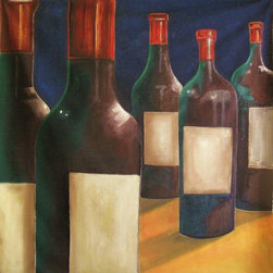 "Wine is bottled Poetry, Large Size Format Original Painting, 58""x58"". - ""Wine is bottled Poetry"" is an original and unique extra large canvas of 58""x58""."