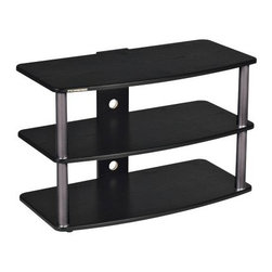 Plateau SF-3V 32 Inch TV Stand in Black - The television is typically the focal point of the room, so give it some appeal with the Plateau SF-3V 32 Inch TV Stand in Black. Constructed from durable wood veneer, this stand features three shelves for media storage and organization. The silver baked powder-coated finish on metal legs adds to the contemporary look and is sure to look great in any room.About Plateau CorporationPlateau Corporation utilizes the finest materials to provide you with state of the art audio and video home theater furniture systems. Entertainment centers created by Plateau Corporation are a fusion of innovative engineering and contemporary design. Their product list includes entertainment centers, media storage, TV armoires, and TV stands that are all are easy to assemble, incredibly durable, and specially made to highlight your audio/video system. Their unique entertainment centers can grow as your system grows.