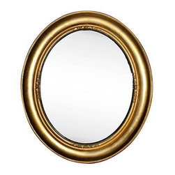 Consigned Oval Gilded Mirror - A beautiful gilded oval mirror with a gilt finish.  Very good conditon.  Vintage 1910-1950.