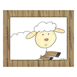 Oh How Cute Kids by Serena Bowman - Here's Looking at You - Sheep with Wood Border, Ready To Hang Canvas Kid's Wall - Every kid is unique and special in their own way so why shouldn't their wall decor be so as well! With our extensive selection of canvas wall art for kids, from princesses to spaceships and cowboys to travel girls, we'll help you find that perfect piece for your special one.  Or fill the entire room with our imaginative art, every canvas is part of a coordinating series, an easy way to provide a complete and unified look for any room.