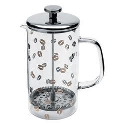 """Alessi - Alessi Mame Filter Coffeemaker - If your mantra is, """"every great day begins with coffee,"""" well, why not make it a great cup of coffee? This simple, yet elegant French press features heat-resistant glass and polished stainless steel. Decorated with fresh beans, it's the ultimate homage to your daily liquid Deity."""