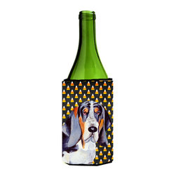 Caroline's Treasures - Basset Hound Candy Corn Halloween Portrait Wine Bottle Koozie Hugger - Basset Hound Candy Corn Halloween Portrait Wine Bottle Koozie Hugger Fits 750 ml. wine or other beverage bottles. Fits 24 oz. cans or pint bottles. Great collapsible koozie for large cans of beer, Energy Drinks or large Iced Tea beverages. Great to keep track of your beverage and add a bit of flair to a gathering. Wash the hugger in your washing machine. Design will not come off.