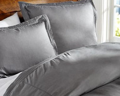 Casual Cotton Duvet Cover, Full/Queen, Flagstone Gray - A great choice for the bedroom or guestroom, our pin-tucked bedding has the soft, casual character of a favorite pair of jeans. Made of pure cotton. Duvet cover and sham reverse to self. Duvet cover has interior ties and a button closure. Sham has an envelope closure. Duvet cover, sham and insert sold separately. Machine wash. Imported.