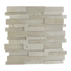 "Illusion 3d Brick Crema Marfil Pattern - sample-ILLUSION 3D BRICK PATTERN CREMA MARFILMARBLE TILES 1/4 SHEET SAMPLE You are purchasing a 1/4 sheet sample measuring approximately 3 "" x 12 "". Samples are intended for color comparison purposes, not installation purposes.-Glass Tiles -"