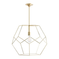 Arteriors - Mara Pendant, Large - Geometrics are a big trend in fashion, just as they are for interiors.  This open caged pendant is the perfect example of just how stylish pentagons can be.  Made of polished brass plated stainless steel, this design makes great shadows on the wall and ceiling.  Two sizes.  Additional pipe available.  Shown with an Edison bulb.