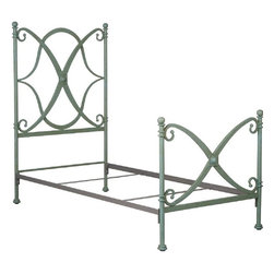 Corsican - Custom New Orleans Bed in Antique Thalo Finish, Queen - Corsican has been in business over 40 years. Their entire focus is making wrought iron furniture. Many of their skilled craftsman are second generation.