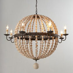"""Regina-Andrew Design - Regina-Andrew Design Wood Bead Sphere Chandelier - Sphere-shaped chandelier draped in strands of wooden beads adds rustic beauty to room lighting. Made of wood and metal. Rustic finish. Uses eight 40-watt bulbs. Direct wire; professional installation required. Ceiling canopy included. 41.5""""Dia. x...."""