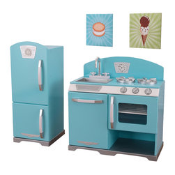 "KidKraft - Kidkraft Play Blue Retro Kitchen and Refrigerator Set - With our Blue Retro Kitchen and refrigerator, kids can cook up feasts for the whole family. The young chefs in your life are sure to love this wooden kitchen and refrigerator's sweet colors and adorable details. Age Range: 3 Plus. Dimension: Stove: 25.9""Lx 14.2""Wx 26.7""H Fridge: 12.3"" Lx 14"" Wx 31.3""H"