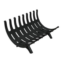 "Mr Flame 54256 24"" Adjustable Black Self Feeding Cradle Fireplace Grate - This Self-Feeding Cradle Fireplace Grate is the perfect Fireplace  Grate if you're looking for efficiency as well as versatility! This  multifunctional grate allows you to get the most direct heat from your  fireplace.This grate has three main functions:1. Cradle  Gravity naturally feeds the fire, continually lowering the burning logs  to the center of the grate, forming an ember bed. The advantage of this  position is that the fire will naturally feed itself with un-burnt wood.2. Back Acts as a fireback, radiating more heat from the fire, while exposing the natural look of the fire.3. Front Allows you to build a much larger fire, while keeping the logs from tumbling out.The  versatility does not cease. By adjusting the high side to the front,  this allows for larger and longer burning fires. Additionally, it will  keep fire and smoke inside the fireplace."