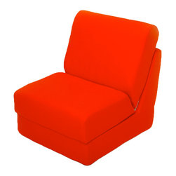 "Fun Furnishings - Fun Furnishings Canvas Teen Chair in Orange - What a great place to plop down and relax. Each bag come with a handy pocket to store the clicker or any other prized possession. The outer cover is removable for cleaning. The inner liner bag securely contains new fire retardant ""beads"" and is refillable too. Cleaning the Cover. We use only fine upholstery-grade fabrics that can take lots of use from kids. Our Micro Suede's, denims and chenille's are all washable."