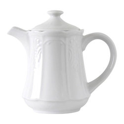 Tuxton - Chicago 18 oz Tea Pot Embossed in Porcelain White - Case of 24 - Chicago's traditional embossed design has the flexibility to be used for both casual and fine dining, appealing to the finest of tastes.