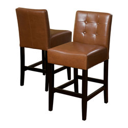 Great Deal Furniture - Gregory Hazelnut Leather Back Stool (Set of 2), Hazelnut Counter Height - These comfortably soft Gregory leather counter stools are a perfect transitional piece from your kitchen to your living room. Place them in your kitchen, bar or dining room and you will enjoy the look and feel of these stools.