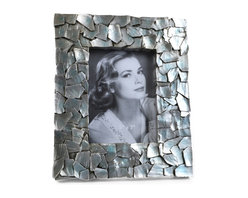"""Concepts Life - Concepts Life Photo Frame  Sacred Mantle  5x7"""" - Add luxurious shimmer and texture to your most beloved photographs with our Sacred Mantle Photo Frame. These dazzling silver frames feature a shell like finish and look stunning when they catch a ray of light.  Modern home accent Contemporary silver picture frame Beautiful and elegant home accent Rectangular photo frame Made of polyresin Textured glossy finish Easel back for horizontal or vertical display Various sizes available Holds 5 x 7 in. size photo Dimensions: 9""""w x 12""""h x 1""""d Weight: 2 lbs"""