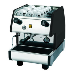 La Pavoni - Portable Commercial Espresso Machine (Black) - Color: Black. 1 Hot water tap. 1 Group and 1 steam wand. 1 Double port filter and 2 coffee baskets. External 2L water tank feeds a 4L boiler. Power switch 1500W/120V. Thermal stability. Spring taps for hot water and steam. 1 Double port filter and 2 coffee baskets. Mounted gauge to monitor boiler pressure. Anti-vacuum valve eliminates liquids from back flushing into the steam wand. Electronic programmable dosing Espresso machine with digital control pad and microprocessor. Independent radiator hydraulic system for every group allows for consistent water circulation throughout the boiler. 21 in. L x 15 in. W x 21 in. H (65 lbs.)