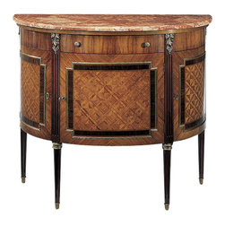 "Inviting Home - Louis XVI Demilune Cabinet - Louis XVI style demilune cabinet with rosewood and palissander inlay and Calacatta gold marble top. Three locking curved doors open to reveal one shelf in each compartment one drawer and antiqued brass hardware; 45""W x 18-1/2""D x 38""H hand-made in Italy Hand-crafted Louis XVI style half-round cabinet inlaid with rosewood and palissander. Louis XVI cabinet features pink Breccia marble top and antique brass embellishments and hardware. Louis XVI cabinet has three locking curved doors with one shelf in each compartment and one curved drawer. This inlaid cabinet is hand-made in Italy."
