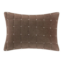Madison Park - Madison Park Quilted Stitch Velvet Oblong Pillow - Add a modern pop to your space with this oblong cotton velvet pillow. The box quilt and stitch detail adds a refreshing and bold look to the classic velvet. Hidden zipper closure with polyester down alternative filling provides an incredibly comfortable pillow for you or your guests. Comes in an earthy brown, this accent piece is an easy addition to your current d̩cor. 100% Cotton velvet quilted face; solid velvet reverse; hidden zipper closure; Lining: 100% Polyester; Filling: 100% Polyester with non-woven cover