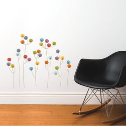 Roommates Decor - Xianyang Transfer Wall Decals - These sweet little abstract blooms are a great way to dress up a blank corner, accent existing wall art, or decorate behind a bed or crib. The transfer decals apply easily, and can be removed without damage or residue left behind. An easy and inexpensive way to add color in any space!
