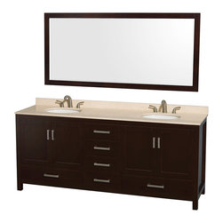"Wyndham Collection - Sheffield 80"" Espresso Double Vanity w/ Ivory Marble Top & Undermount Oval Sink - Distinctive styling and elegant lines come together to form a complete range of modern classics in the Sheffield Bathroom Vanity collection. Inspired by well established American standards and crafted without compromise, these vanities are designed to complement any decor, from traditional to minimalist modern. Available in multiple sizes and finishes."