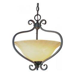 Joshua Marshal - Two Light Antique Bronze Crushed Stone Glass Up Pendant - Two Light Antique Bronze Crushed Stone Glass Up Pendant