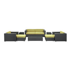 Modway - Modway EEI-610 Venice 8 Piece Sofa Set in Espresso Peridot - Let serenity penetrate your being and distractions fade away with this modern outdoor set. Sit leisurely as an unwavering inner joy rises to the surface and a firm message of relaxation and harmony take hold. Dynamic lines help infuse your special gatherings with perfect measures of energy and calm as your respite turns waves of activity into serenity.