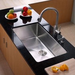 Kraus - Kraus KHU100-32-KPF2130-SD20 Single Basin Undermount Kitchen Sink with Faucet Mu - Shop for Kitchen from Hayneedle.com! Running your kitchen smoother than ever the Kraus KHU100-32-KPF2130-SD20 Single Basin Undermount Kitchen Sink with Faucet comes complete with everything you need. Its faucet springs to life with a twist from the single handle and doubles as a strong sprayer with the push of a button. Thanks to the oversized basin you'll have ample room to take on any task.Product SpecificationsBowl Depth (inches): 10Weight (pounds): 34Low Lead Compliant: YesEco Friendly: YesMade in the USA: YesHandle Style: LeverValve Type: Ceramic DiscFlow Rate (GPM): 2.2Spout Height (inches): 8Spout Reach (inches): 10About KrausWhen you shop Kraus you'll find a unique selection of designer pieces including vessel sinks and faucet combinations. Kraus incorporates its distinguished style with superior functionality and affordability while maintaining highest standards of quality in its vast product line. The designers at Kraus are continuously researching and exploring broader markets seeking new trends and styles. Additionally durability and reliability are vital components at Kraus for developing high-quality fixtures. Every model undergoes rigorous testing and inspection prior to distribution with customer satisfaction in mind. Step into the Kraus world of plumbing perfection. With supreme quality and unique designs you will reinvent how you see your bathroom decor. Let your imagination become reality!