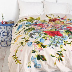 Romantic Floral Scarf Duvet - I would put these gorgeous florals in a guest room for sure, but I would sure try and put them on my bed first.