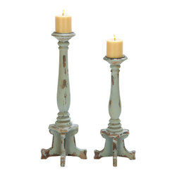 Benzara - Classic Wooden Candle Holder in Contemporary Style - Set of 2 - Add an elegant and classic touch to settings with this Wooden Candle Holder which includes a pair of exotic candle holders. Designed with attention to detail, these beautiful candle holders sport a slim profile which gives it a very delicate look. It is made from high quality wood to ensure hassle free and long-lasting use. The design resembles an intricate finial, giving the set an opulent and vintage appeal that can complement different decors. These candle holders are designed with solid legs to ensure adequate support and eliminates wobbling. Perfect for all uses, the holder cups can accommodate block candles of various sizes and shapes. It is available in 2 size variants - 19 in.  H x 6 in.  W x 6 in.  D, 24 in.  H x 6 in.  W x 6 in.  D.