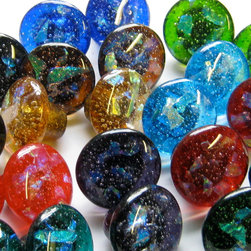 Blue, green, red, amber, aqua, purple dichroic glass cabinet hardware pull knobs - Carol Gilewicz of Torch Lake Glass creates unique handmade fused glass cabinet hardware that is guaranteed for life against manufacturing defects. Shown here - dichroic knobs in transparent colors