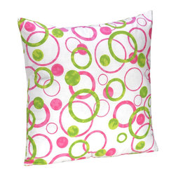 Sweet Jojo Designs - Pink Circles Decorative Pillow by Sweet Jojo Designs - The Pink Circles Decorative Pillow by Sweet Jojo Designs, along with the  bedding accessories.