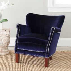 Safavieh - Safavieh Posh Royal Blue Arm Chair - Update the look of your living space with this royal blue armchair. The nail head details,birchwood legs,and plush upholstery of this armchair will look great with any decor. This chair's polyester fabric upholstery ensures many years of use.