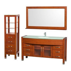 "Wyndham Collection(R) - Daytona 60"" Bathroom Vanity Set by Wyndham Collection - Cherry - The Daytona 60"" Bathroom Vanity Set is a modern classic with elegant, contemporary lines. This beautiful centerpiece, made in solid, eco-friendly zero emissions wood, comes complete with matching mirror and side cabinet. From fully extending drawer glides and soft-close doors to the 3/4"" green glass, ivory marble or man-made stone counter, quality comes first, like all Wyndham Collection products. Doors are made with fully framed glass inserts, and back paneling is standard. Available in gorgeous contemporary Cherry or rich, warm Espresso. Transform your bathroom into a talking point with this Wyndham Collection original design, only available in limited numbers. The Daytona 60 inch vanities offer choices for countertops that include Ivory Marble with undermount sink, and the amazing 3/4 inch thick one-piece counter and integral sink which gives the Daytona vanity the beautiful, clean look necessary in any modern vanity. The mirror, side cabinet and faucet are included in this magnificent vanity set, supplying you with everything you need for your bathroom remodel. The Wyndham Collection is an entirely unique and innovative bath line. Sure to inspire imitators, the original Wyndham Collection sets new standards for design and construction. Available in additional sizes, finishes and counter options. Features Constructed of solid, environmentally friendly, zero emissions wood, engineered to prevent warping and last a lifetime All counters are pre-drilled for a single-hole faucet Includes drain assembly and P-trap Includes Matching Mirror Six (6) fully functional drawers Two (2) soft-close doors Concealed soft-close door hinges Counter options include Green Glass, White Man-Made Stone, Ivory Marble Includes integrated sink with green glass or white man-made stone and undermount sink with ivory marble counter Brushed Chrome exterior hardware Includes four drawer, two shelf side cabinet Plenty of storage space How to handle your counter Spec Sheet for Vanity with Integrated Sinks Spec Sheet for Vanity with Undermount Sinks Spec Sheet for Tavello Side Cabinet (WC-K-W045) Installation Guide for Vanity Natural stone like marble and granite, while otherwise durable, are vulnerable to staining from hair dye, ink, tea, coffee, oily materials such as hand cream or milk, and can be etched by acidic substances such as alcohol and soft drinks. Please protect your sink by avoiding contact with these substances. For more information, please review our ""Marble & Granite Care"" guide."