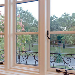 Mediterranean Revival Speculative Home, River Oaks - Push out casement windows with specialty latches and stay bars.